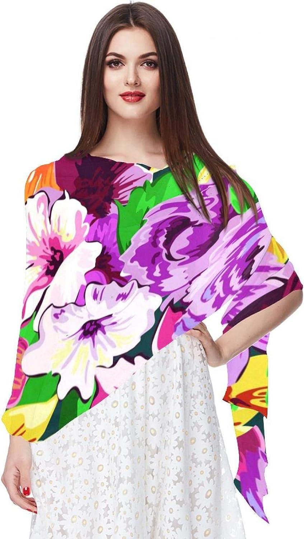 Pink Flower Spring Women Soft Chiffon Pashmina Shawl Wrap Scarf for Bridesmaid Wedding Formal Party Evening Dress