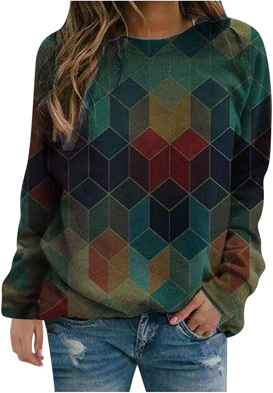 Women Long Sleeve Shirts,Womens Tie Dye Sweatshirts Crewneck Aesthetic Vintage Oversized Long Sleeve Pullover