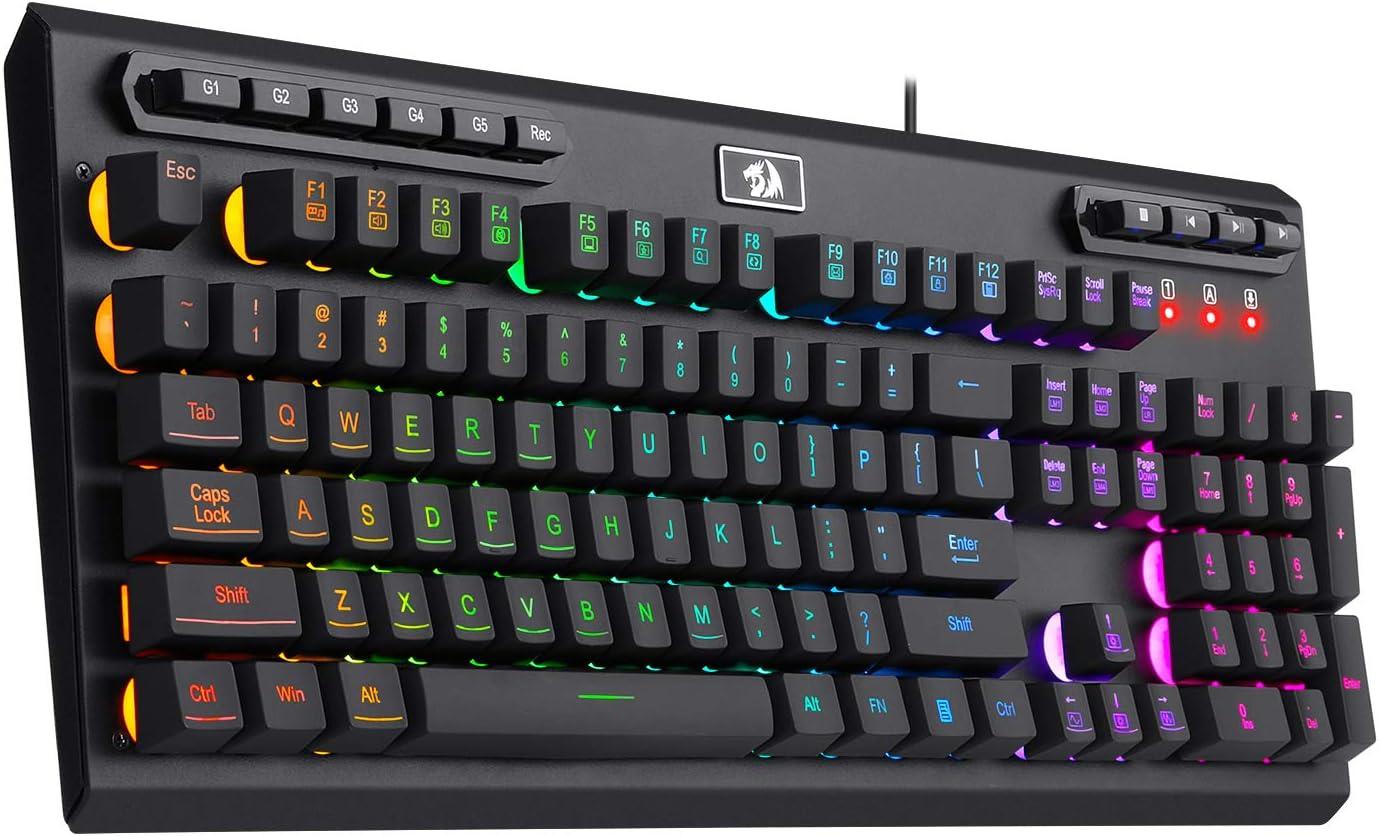 Redragon K511 PRO RGB Gaming Keyboard Wired LED Backlit Programmable Macro Keyboard 104 Keys Quiet Silent Membrane Keyboard for Windows PC Gamer Computer