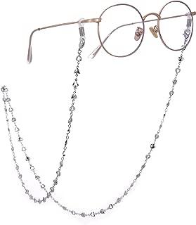 LIKGREAT 2pcs Retro Eyeglass Chain Holder for Women Heart Beaded Reading Glasses Cords