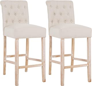 DAGONHIL 30 Inches Counter Height Bar Chairs with Button Tufted Back Solid Wood Stools,Set of 2,Tan