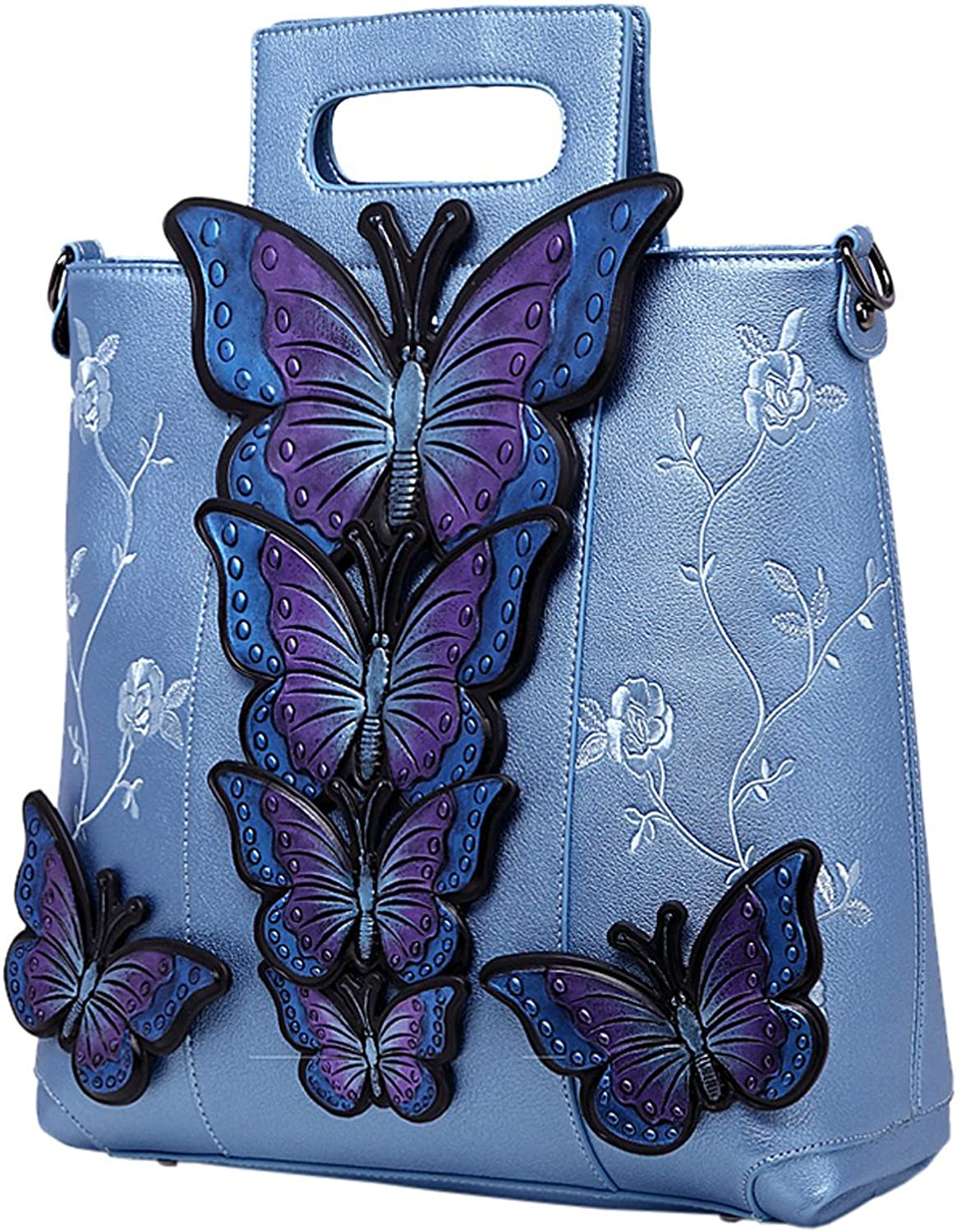 KAXIDY Ladies Hand Made Handbag Embroidered Butterfly PU Leather Messenger Bag Tote Girls Handbags