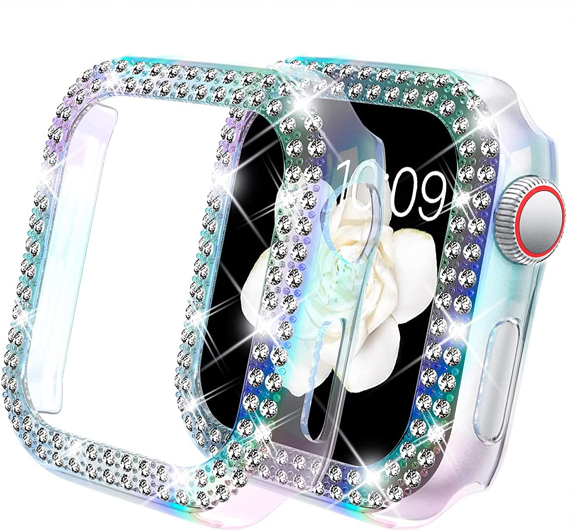 DABAOZA Compatible for Apple Watch 40mm Case Cover Bumper , Bling Women Girls Protective Cover Dressy Diamonds Bumper Hard PC Shockproof Rhinestone Case for SE iWatch Series 6 5 4(Colorful, 40mm)
