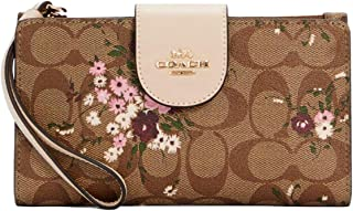 Coach Tech Phone Wallet Clutch Bag In Signature Canvas With Everygreen Floral Print