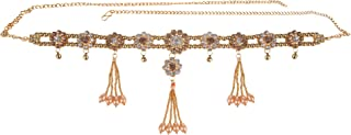 Archi Collection Multicolour Traditional Gold Plated Kundan Stone Pearl Tassel Kamarband Waist Chain for Women