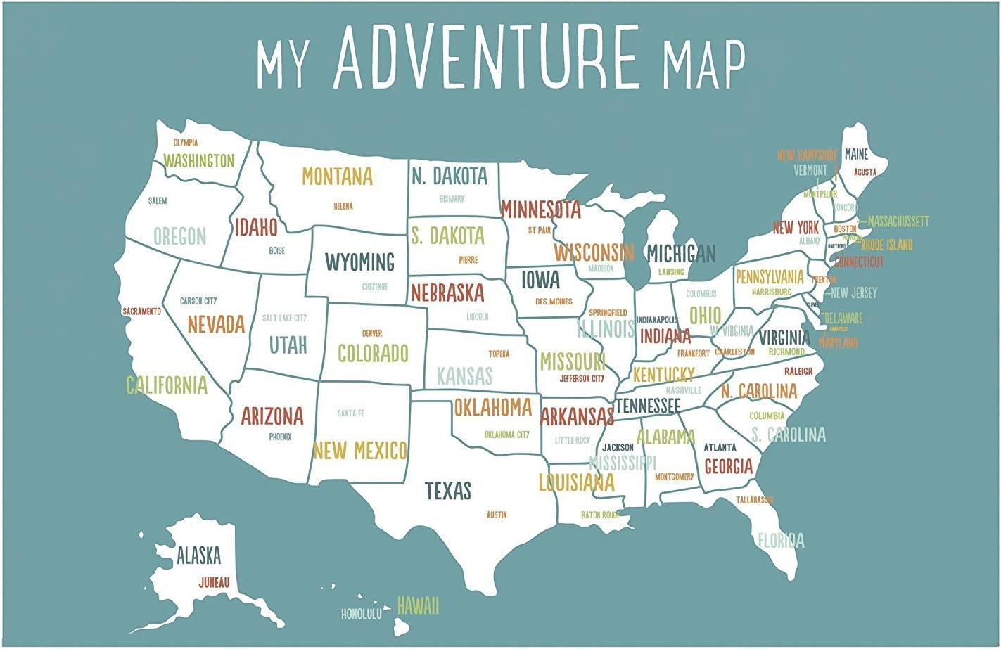 United States map 2 printable files download and print any size between /'5x7 and  16x20 JPEG nursery map for boys