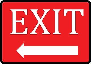 Red Exit Left Arrow Sign - Aluminum Metal