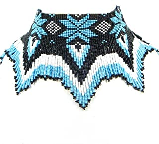 La vivia Handmade Black White Turquoise Blue Color Seed Beaded Necklace Earrings Beadwork 19/6