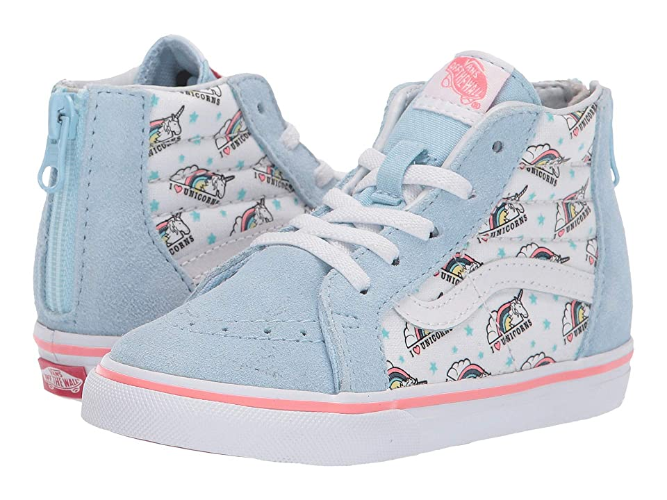Vans Kids Sk8-Hi Zip (Toddler) ((Unicorn) Cool Blue/True White) Girls Shoes