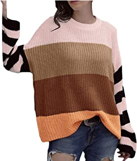 Womens Sweater Long Sleeve Sweaters Casual Crew Neck Color Block Knit Pullover Tops
