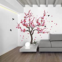 Japanese Cherry Blossom Tree and Birds Wall Decal Sticker for Flower Baby Nursery Room Decor Art (Red & Pink, 38x59 inches)