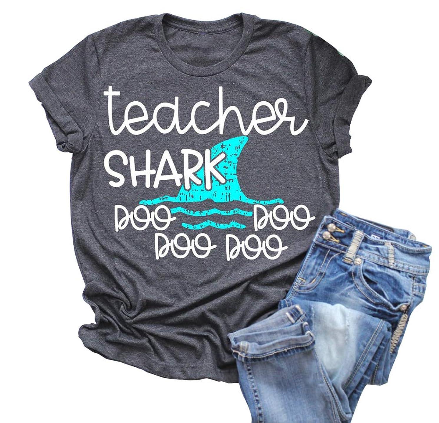 Teacher Shark doo doo Shirt Cute Graphics Short Sleeve O Neck Blouse Womens Tops