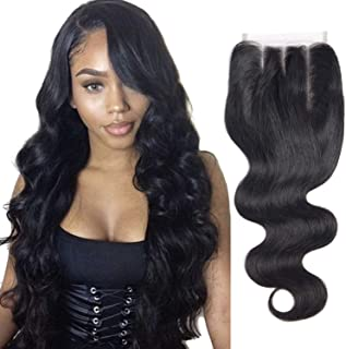 Brazilian Virgin Hair Body Wave Lace Closure Three Part Double Lace Net Closure Unprocessed Human Hair (8 inch, Body)