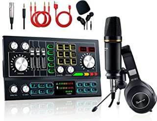 Podcast Equipment Bundle Aluminum Alloy Panel with Studio Condenser Microphone Sound DJ Mixer Broadcast ALL-IN-ONE Audio I...