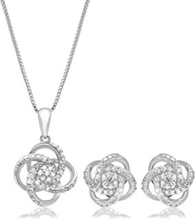 """1/4 CT.TW. Diamond Love Knot Set in Sterling Silver with 18"""" Box Chain"""