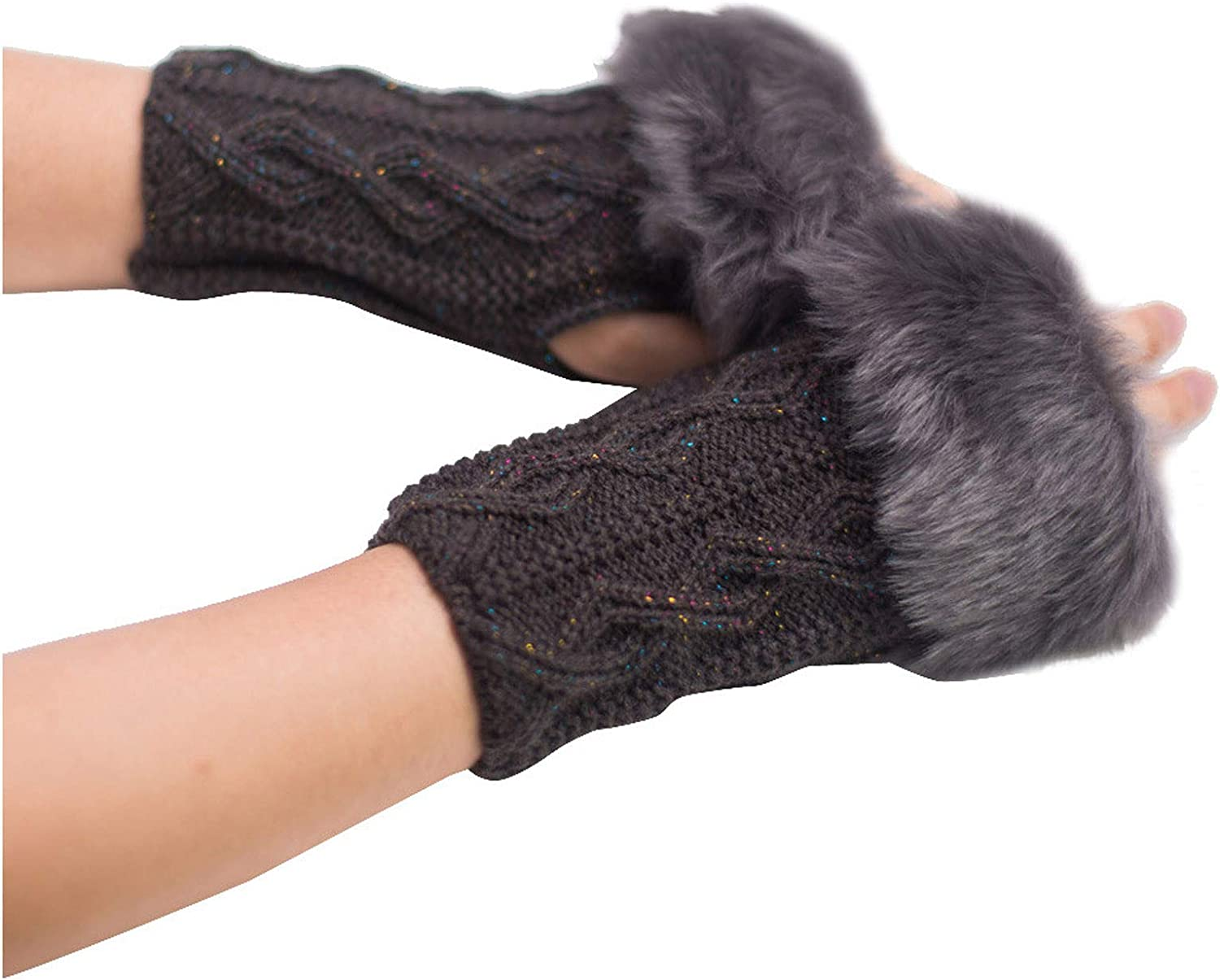 Gloves Faux Rabbit Fur Wrist Fingerless Gloves Mittens Black Red for Girls Women Winter Warm Outside Work Outdoor Sports Snowball Fight Ski Shovel Snow Driving Hiking Motorcycle Cycling