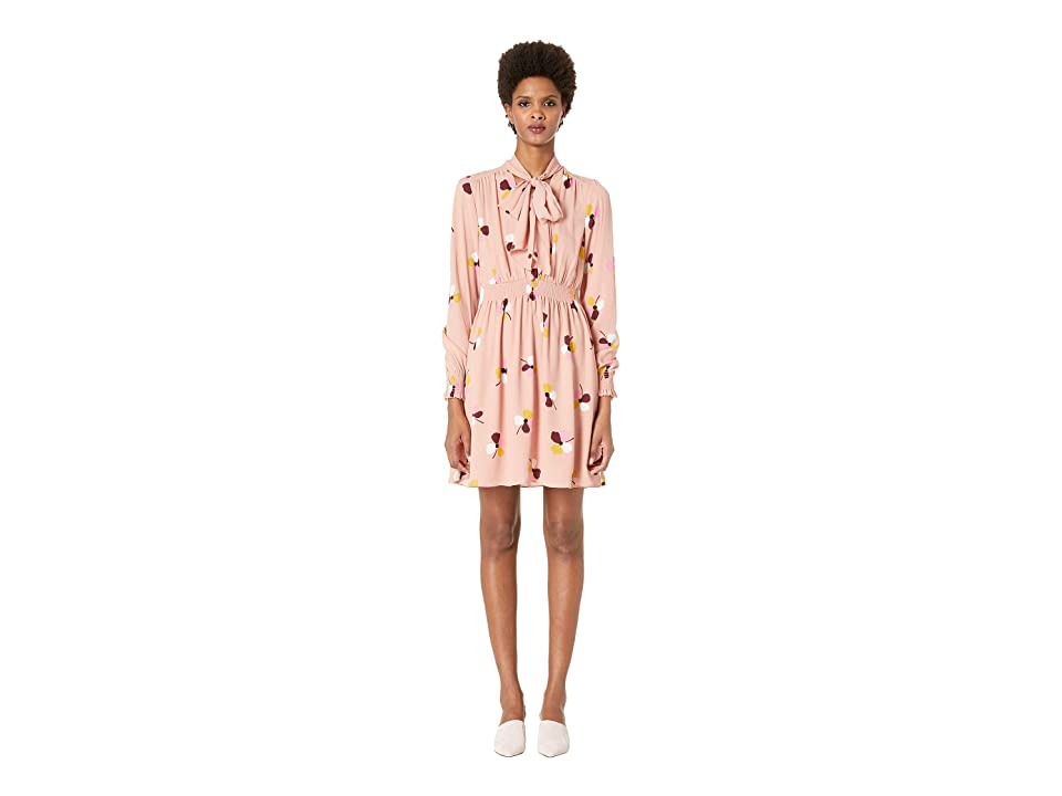 Kate Spade New York Glitzy Ritzy Dusk Buds Print Mix Dress (Conch Shell) Women