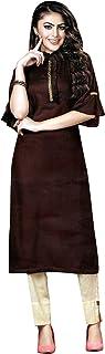 Ladyline Plain Rayon Embroidered Kurti Tunic Top Womens Kurta Indian Evening Ceremony Dress