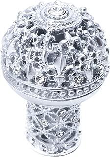 Carpe Diem Hardware 7615-24C Versailles Large Round Knob Fleur De Lys Open Basket Decorative Column Foot with Swarovski Crystals, Platinum