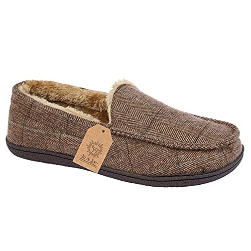 c6c1ae828 Mens New Hampshire Faux Suede Fur Lined Moccasin Slippers Shoes Size 7-12