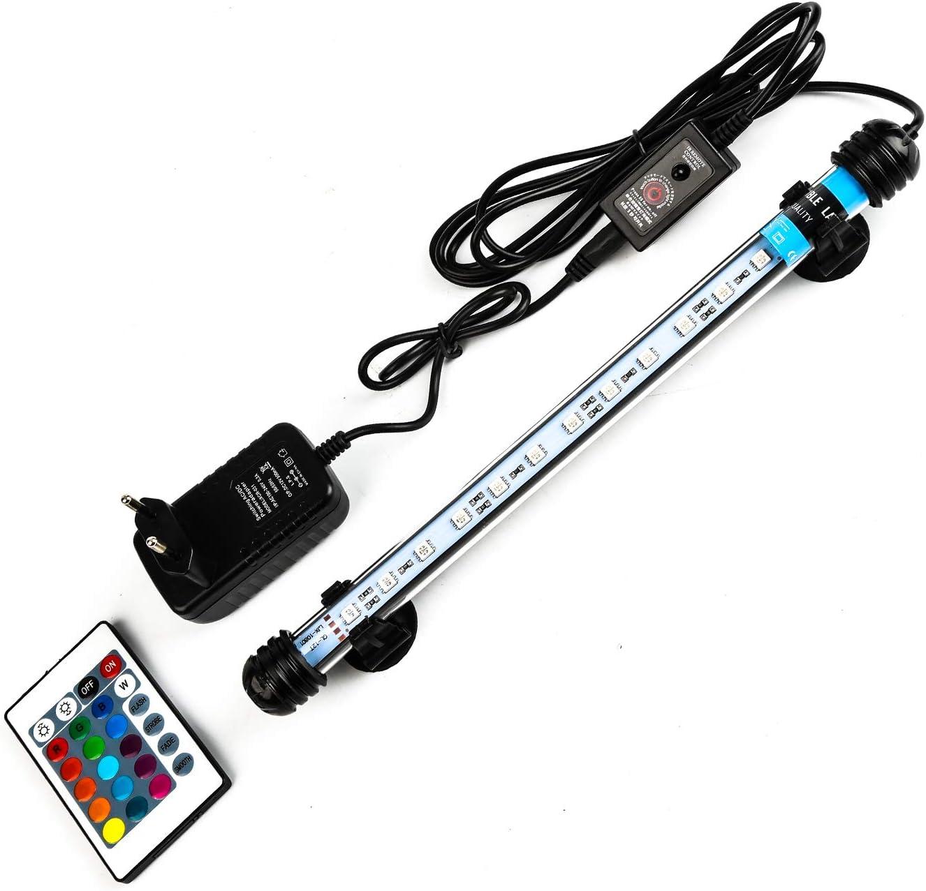 Lueigmo LED Acquario, 18cm RGB LED Aquarium Lighting, Luce Acquario a Tubo Impermeabile e Sommergibile,1,5W