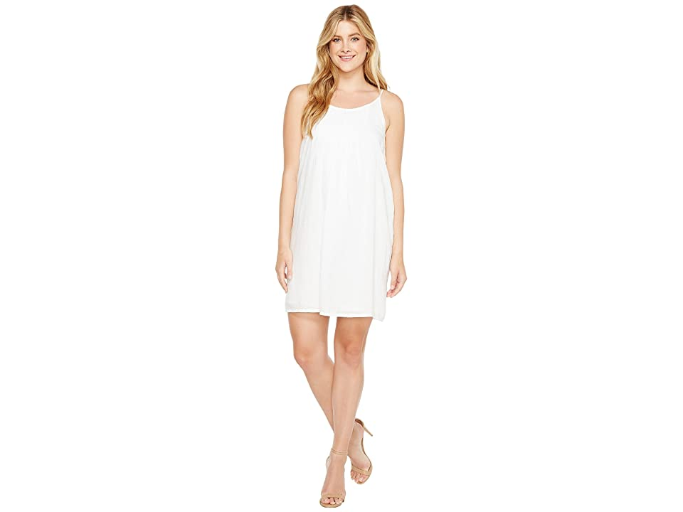 TWO by Vince Camuto Linen Pintuck Swing Dress (Ultra White) Women