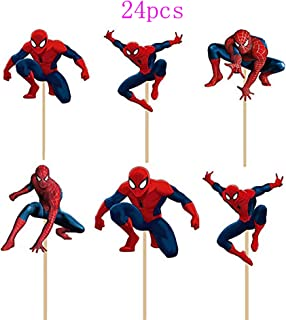 24 PCS Spiderman Toppers - Spiderman Cupcake Topper - Children Party Decoration - Hero Party Supplies