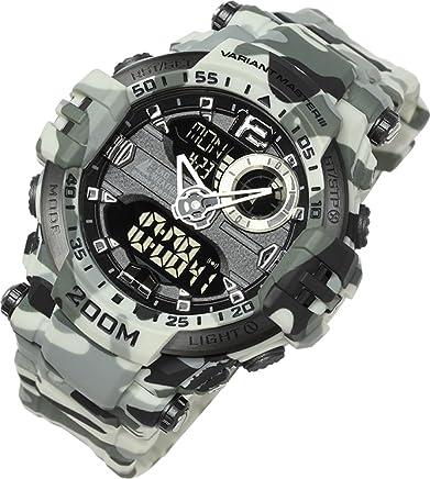 [ラドウェザー]腕時計 メンズ 200m防水 ミリタリー時計 アナログ & デジタル ウォッチ (カモフラージュホワイト)