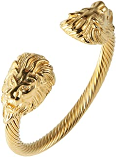 HZMAN Mens Lion CZ Eyes Bracelet Cable Wire Bangle Stainless Steel Gold Plated Biker Punk