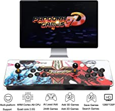HAAMIIQII 3D Pandora Key 7 Retro Arcade Game Console - 2448 HD Games Pre-Loaded, Support 3D Games, Add More Games, Search/Save/Hide/Delete Games, 1280x720P, Favorite List, 4 Players Online Game