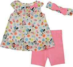 Minnie Mouse Disney Baby Girls Chiffon Top and Shorts Set with Headband
