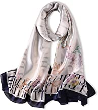 Women's Silk Scarf Soft Print Scarves Large Ladies Shawls and Wraps Pashmina 71x35 inches