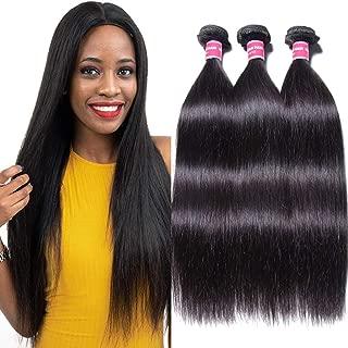 Jolia Hair Malaysian Virgin Hair Straight Human Hair 3 Bundles 7A Malaysian Unprocessed Virgin Weave Hair Human Bundles Natural Black Color 95-100g/pc Mixed Length (16 18 20, Natural Black)