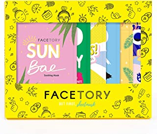 FaceTory 6 Sheet Mask Gift Set | Hydrate, Brighten, Moisturize for Glowing Skin