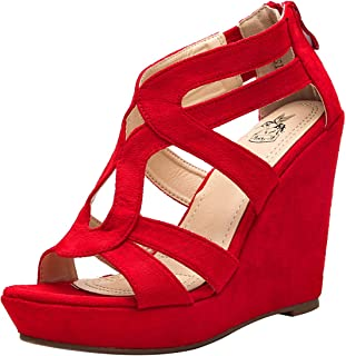 Ashley A A-LISA40 Zippered Strappy Open Toe Platform Wedges Heeled Sandals Shoes for Women
