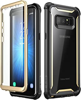 i-Blason Case for Galaxy Note 8 2017 Release, [Ares Series] Full-body Rugged Clear Bumper Case with Built-in Screen Protector (Black/Gold)