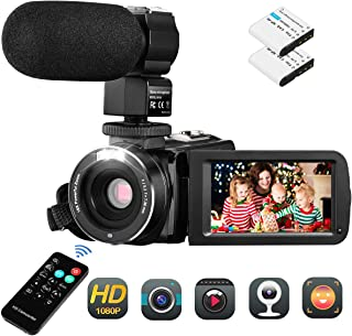 Video Camera Camcorder , Aitechny Vlogging Camera FHD 1080P 30FPS Camera 24MP 3.0 Inch LCD Touch Screen Digital Video Camera IR Night Vision YouTube Camera with Mic Remote Control 2 Batteries