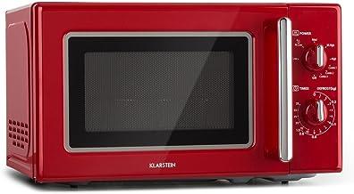 Klarstein Caroline Microondas - Microondas combi 2 en 1 con función grill, 20 litros, 700/1000 W de potencia, Ø 25,5cm, Diseño retro, Acero inoxidable, Rojo