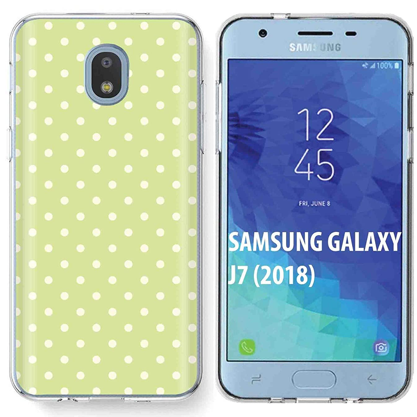 Samsung Galaxy (J7 2018) (J737) Case [TalkingCase] Premium Thin Gel TPU Phone Cover Samsung J7 Refine/J7 Star/J7 Aero/J7 V 2nd Gen/J7 Crown/J7 Aura/J7 Top [Yellow Polka Dots] Design
