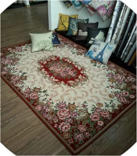Anti-Skid Jacquard Carpet for Living Room/Dining Bedroom Mat Floral Modern Pattern Absorbent