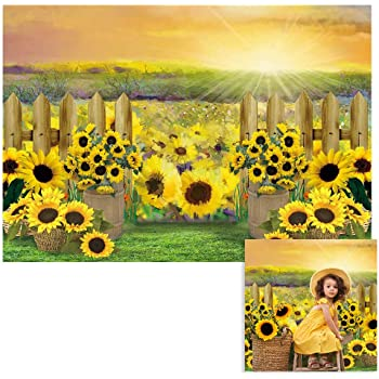 8x8FT Vinyl Photography Backdrop,Sunflower,Agriculture Pattern Curve Photo Background for Photo Booth Studio Props