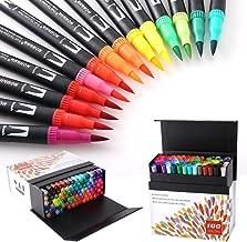 HOHUHU 100 Colores Con doble Rotuladores Punta Pincel,Ideal Para Libros Para Colorear Para Adultos, Manga, Comic, Caligrafía HO-100B