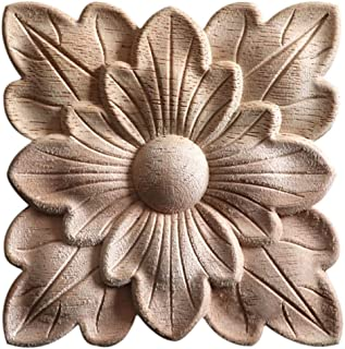 Enerhu 1 Pack Wood Carved Applique Onlay Square Carving Decal Leaf Pattern Unpainted Plant Door Cabinet Furniture Decoration 3.15x3.15inch #16