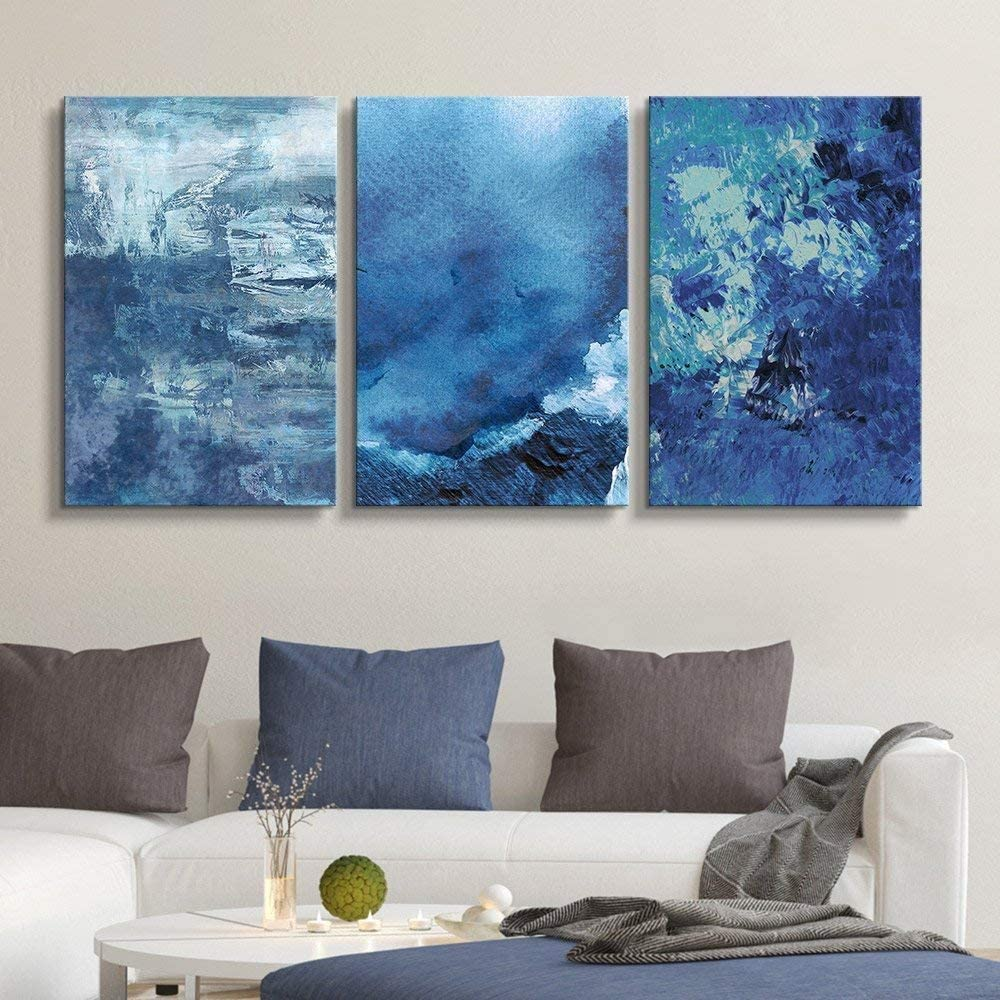 wall26-3 Panel Canvas Wall Art Abstract Max 84% OFF Blue Giclee Cheap super special price - Artworks