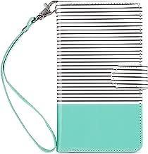 iPhone 8 Plus Case Wallet, iPhone 7 Plus Case, ULAK PU Leather iPhone 7 Plus/8 Plus Wallet Case with Credit Card Slots Magnetic Closure Cover for Apple iPhone 7 Plus/iPhone 8 Plus-Mint Minimal Stripes