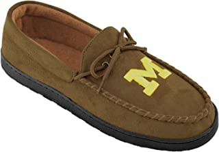 NCAA Premium Men's Moccasin Shoes – Comfortable Flannel Lining Indoor and Outdoor use easy Slip on and off, Pick Your Favorite NCAA Team