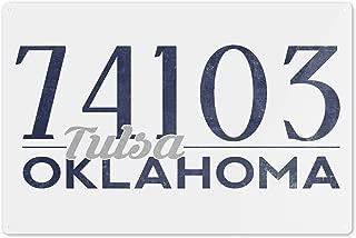 Lantern Press Tulsa, Oklahoma - 74103 Zip Code (Blue) 67715 (6x9 Aluminum Wall Sign, Wall Decor Ready to Hang)