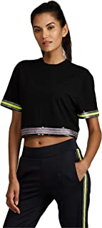 Noli Yoga Black Line Womens Bowery Crop Top