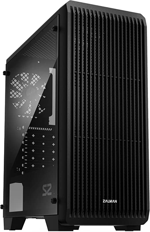Zalman S2 ATX Mid Tower Computer PC Case, Full Acrylic Clear Side Panel, 3X Pre-Installed 120mm Case Fans, Front Panel Mesh Design (Acrylic - 3 Fan)