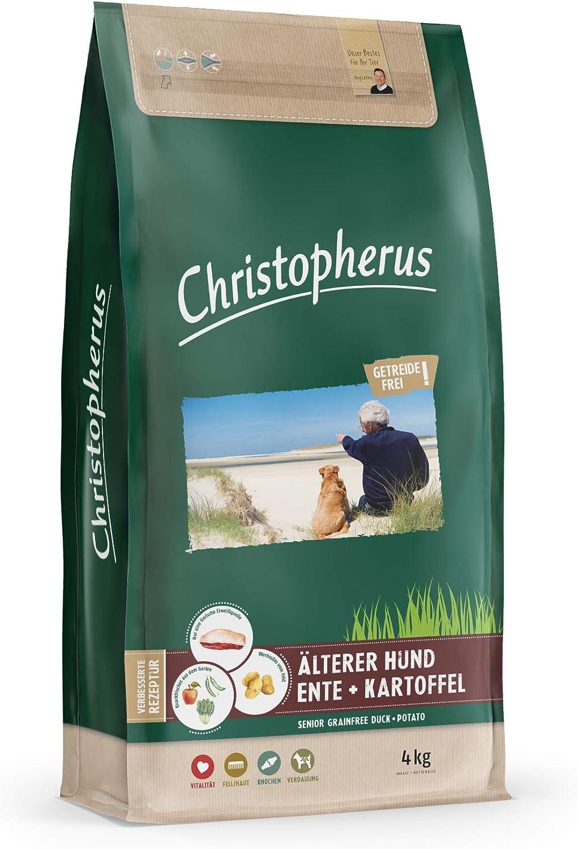 Christopherus Grainfree Senior - Alimento Completo para Perros sensibles a la alimentación a Partir de 6 años, alimento seco, Pato + Patata, tamaño de ...